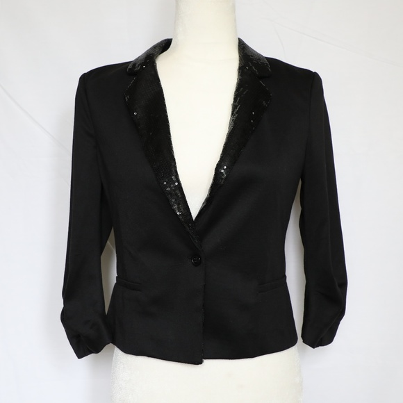 Moon Collection Jackets & Blazers - Moon Collection Black Sequin Cropped Blazer Medium